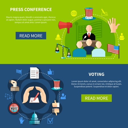 Government elections press conference concept 2 flat banners set abstract isolated flat vector illustration Ilustrace