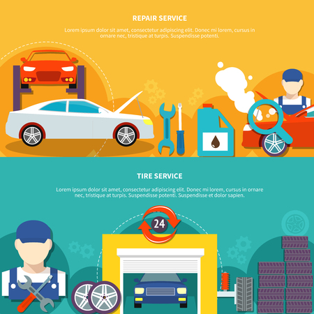 centering: Auto service two horizontal banners with tire service and car spares decorative icons compositions flat vector illustration