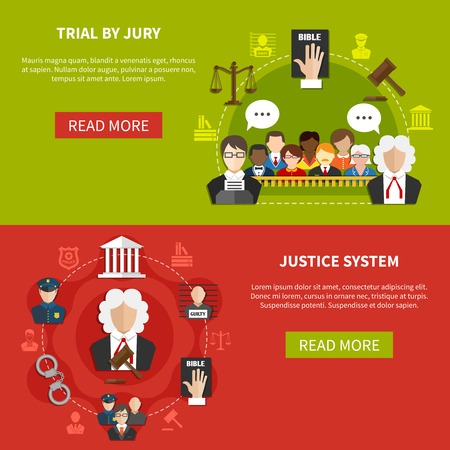 Two horizontal flat law banner set with trial by jury and justice system descriptions vector illustration