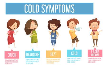 Kinder Grippe kalte gemeinsame Symptome flachen infografischen Plakat mit Kindern mit Kopfschmerzen Husten laufen Nase Vektor-Illustration