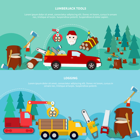 lumberman: Flat horizontal lumberjack banner set with lumberjack tools and logging descriptions isolated and colored vector illustration