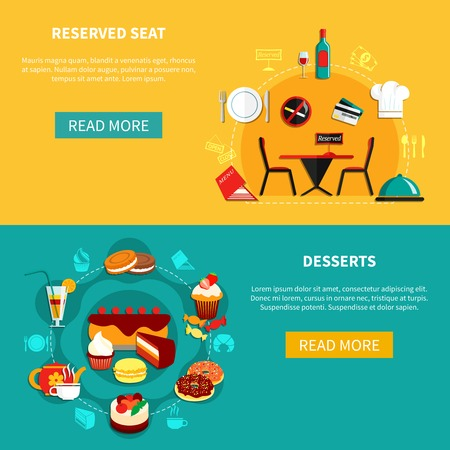 cooking utensils: Restaurant desserts and reservation horizontal banners with compositions of flat sweets images with read more button vector illustration Illustration