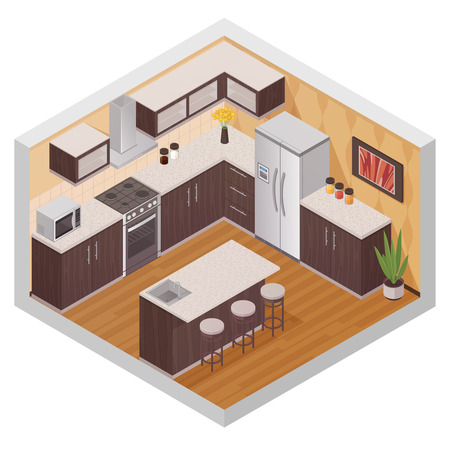 kitchen equipment: Kitchen modern interior design composition in isometric style with household equipment appliances and utensil flat vector illustration Illustration