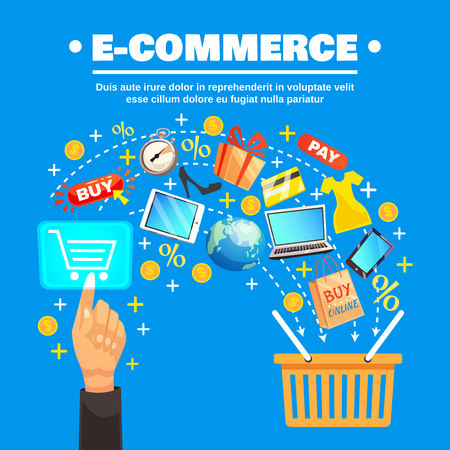 sell: E-commerce conceptual composition with online shopping icons and signs flow with supermarket basket and human hand vector illustration