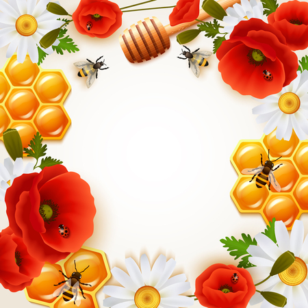 Honey colored background with colorful flowers attributes for honey and bees around white fond vector illustration