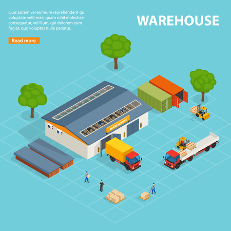 Warehouse top view isometric design concept with storage buildings cargo transport loaders and workers vector illustration Illustration