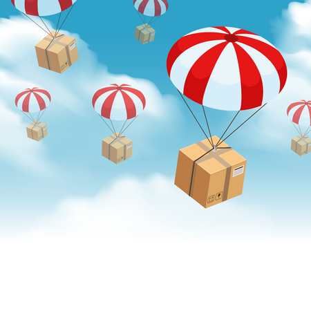 Parachute box delivery background with sky clouds and skydiving parcel with this side up fragile signs vector illustration