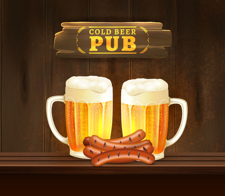 lager beer: Cups with cold lager beer and sausages on bar counter in pub realistic vector illustration Illustration