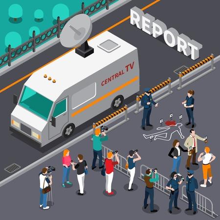 Reportage van het ontwerp van de moordscène met fotografen en cameraman detectives en de isometrische vectorillustratie van de politietelevisieauto Stock Illustratie