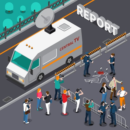 Reportagem do design de cena de assassinato com fotógrafos e detetives de cinegrafistas e ilustração em vetor isométrica de carro de televisão da polícia