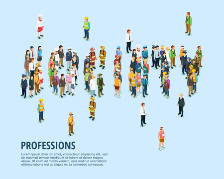 Social people isometric template with man of different professions on blue background isolated vector illustration