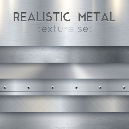 Metal texture realistic sheets horizontal banners set of panels surface finish patterns samples with rivets vector illustration Illustration