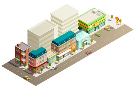 Many storeyed urban store buildings in street with few cars isometric concept on white background vector illustration Illustration