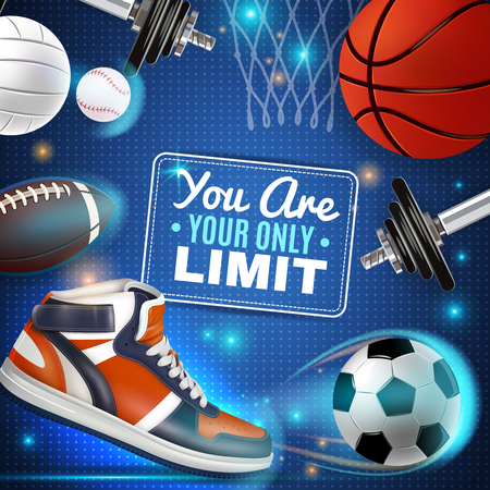 Sport inventory colorful poster with basketball soccer rugby tennis balls and sneaker vector illustration Illustration