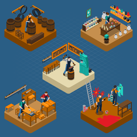 Craftsman isometric composition with creation of casks blacksmith carpentry house painting and design works vector illustration