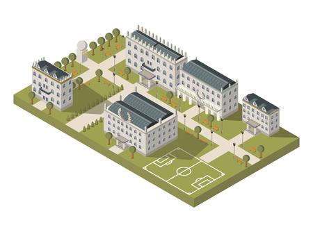 Isometrisch universitair campusconcept met universitaire sportgrond en park vectorillustratie