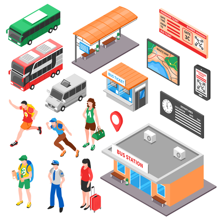 Bus terminal isometric set with tourists ticket office and platform vehicles route and timetable isolated vector illustration Illustration
