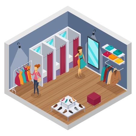 Coloré essayant intérieur isométrique de magasin avec murs et magasin avec des illustrations de montage des pièces vectorielles Banque d'images - 74407683