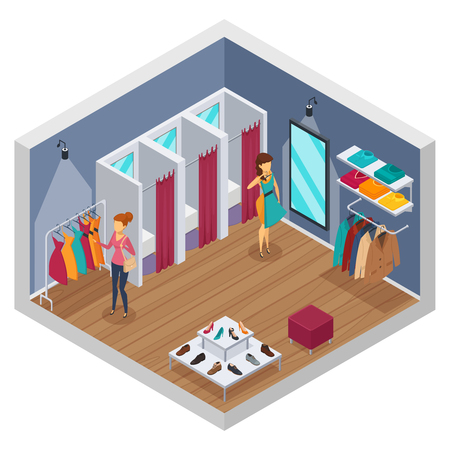 Colored trying shop isometric interior with walls and store with fitting rooms vector illustration Illustration