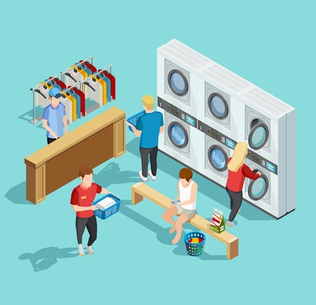 attending: Self service coin public laundry facility interior with customers washing and drying clothes isometric poster vector illustration Illustration