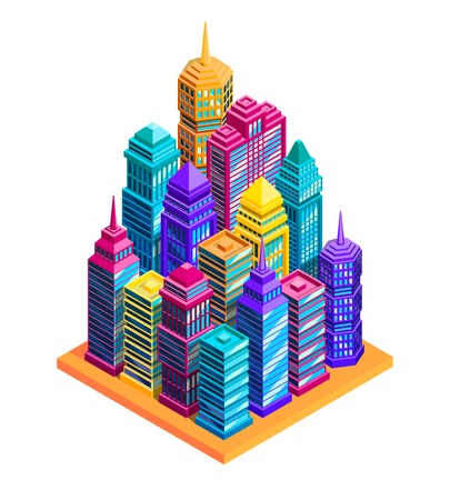 City buildings concept with bright skyscrapers and street isometric vector illustration Illustration
