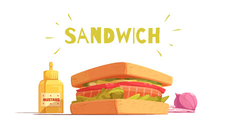 sandwich white background: Sandwich cartoon design with toasts salmon tomato salad sliced onion and mustard on white background vector illustration