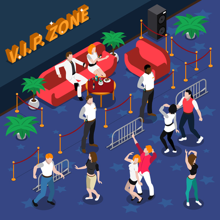 famous actor: Celebrities on red sofa at vip zone with guards near dance floor in nightclub isometric vector illustration