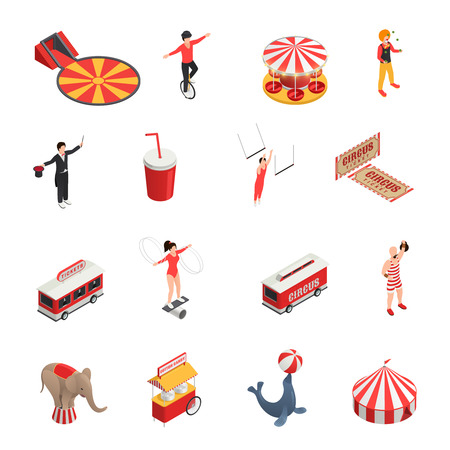 trained: Circus isometric set of manege juggler clown acrobat trained animals tickets cola carousel decorative icons isolated vector illustration Illustration