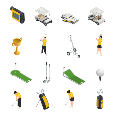 Golf colored isometric isolated icons set of  golfers accessories and equipment for play vector illustration
