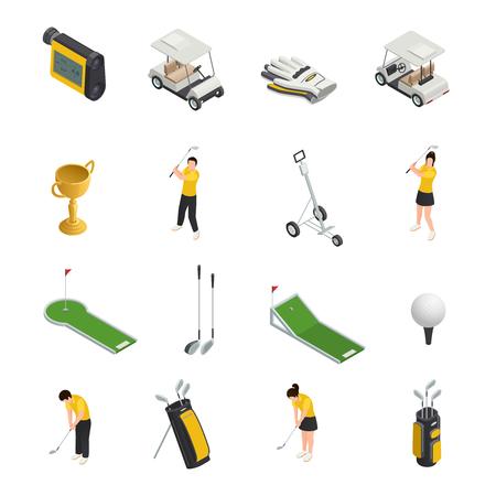 Golf gekleurde isometrische geïsoleerde pictogrammenreeks golfspelertoebehoren en materiaal voor spel vectorillustratie Vector Illustratie