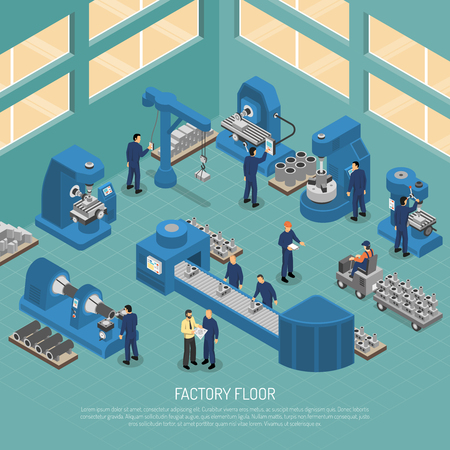 Heavy industry production manufacturing process with workers and equipment machinery on factory floor isometric poster vector illustration