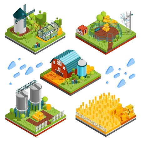 Farm rural buildings isometric compositions set with square segments of ranch reservation with plantations mills reservoirs vector illustration Ilustrace