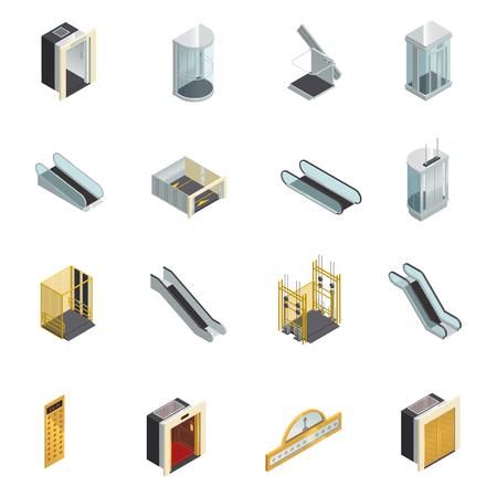 Lift lift roltrap isometrische pictogrammen instellen met bewegende trappen lift cabines en elementen van verschillende vorm vectorillustratie