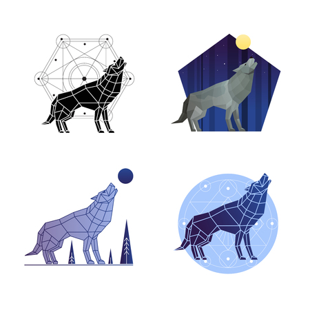 Howling wolf 2x2 icons and emblems in different styles set polygonal isolated vector illustration Illustration