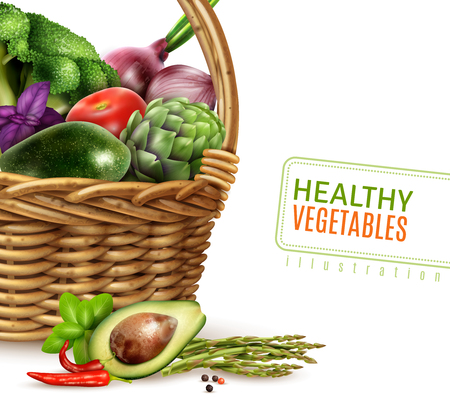 greengrocery: Healthy vegetables in basket composition in realistic style with avocado broccoli tomato onion basil mint asparagus vector Illustration