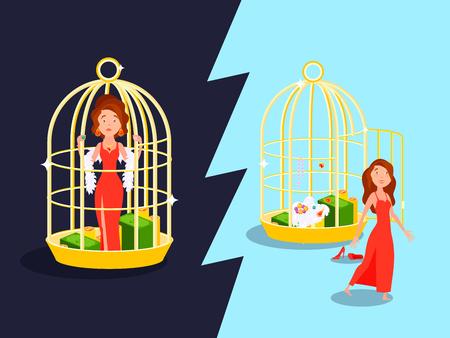 adentro y afuera: Conveniencia matrimonio jaula de oro composición de amor con la mujer infeliz personaje de dibujos animados dentro y fuera de la ilustración vectorial birdcage