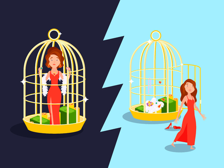 Marriage convenience golden cage love composition with unhappy woman cartoon character inside and outside the birdcage vector illustration