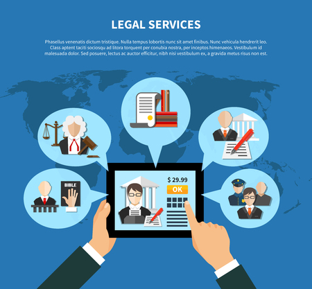 Colored flat information about law in app or in internet sites composition vector illustration Illustration