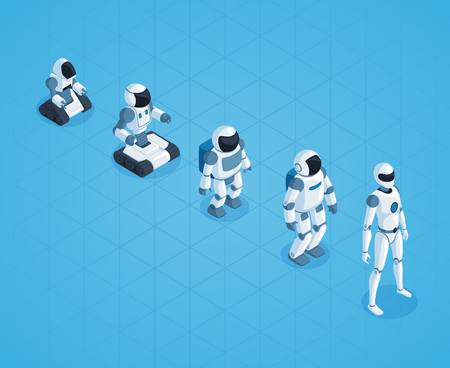 Evolution of robots isometric design with stages of androids development on textured blue background vector illustration Illustration
