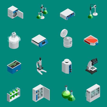 Los iconos isométricos del equipo científico del laboratorio fijan con las herramientas para la investigación natural y los dispositivos altamente tecnológicos aislaron la ilustración del vector