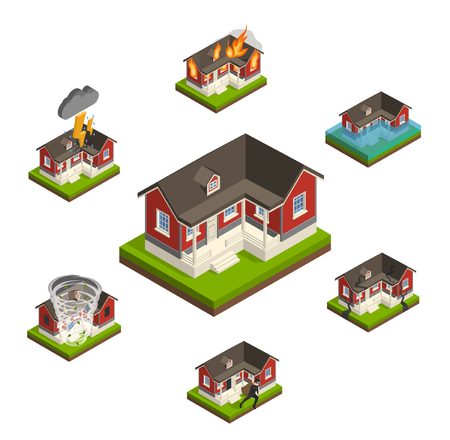 affected: House insurance isometric concept collection with similar isolated cottage images affected by different types of damage vector illustration Illustration
