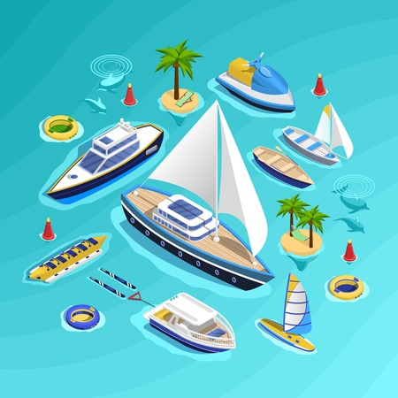 sailboard: Sea tourism conceptual composition with set of water carriage vehicles inflatable boats water rides and palm islands vector illustration Illustration