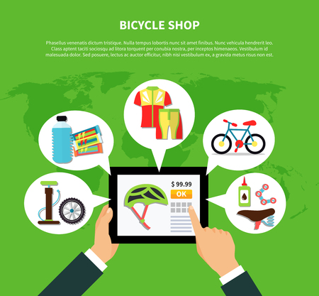 green clothes: Bicycle shop concept with clothes and equipment symbols on green background flat vector illustration Illustration
