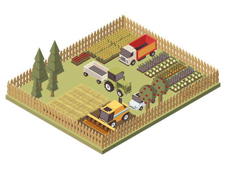 Agricultural vehicles isometric design with harvesting machine truck and tractor farmland and garden beds vector illustration