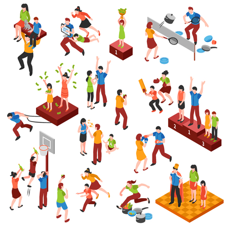 family relationships: Isometric family relationships icon set with playing in games championship and enjoyed each other vector illustration