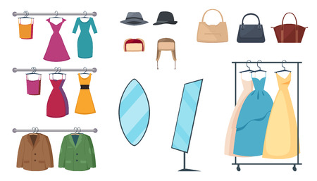 mujer en el supermercado: Isolated and colored clothing store icon set with elements and attributes clothes on hangers and accessories vector illustration Vectores