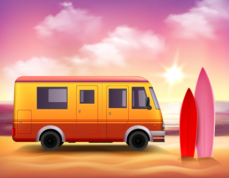clowds: Retro style 3D realistic surfing van with pink red surfboards on fantastic colored sunset background vector illustration