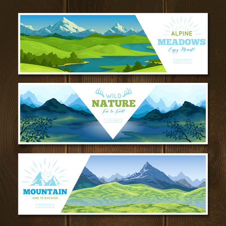 Set of horizontal nature landscape banners with mountain scenery decorative title text and read more button vector illustration Illustration