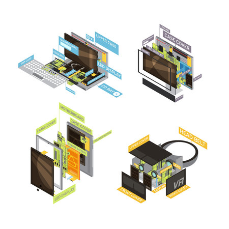 Four square colored gadgets scheme composition set with types and parts of computers and tablets vector illustration