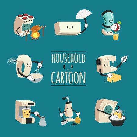 Household design concept with electrical appliances to aid housewife in cartoon style flat vector illustration